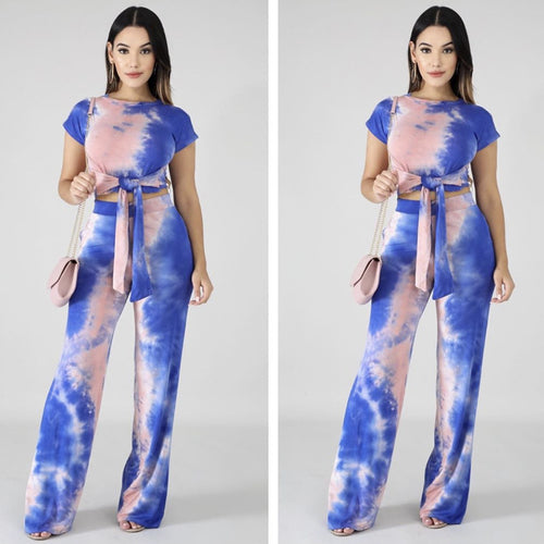 Women's Fashion Two-piece Tie-dye Printed Casual T-shirt + Pants Suit