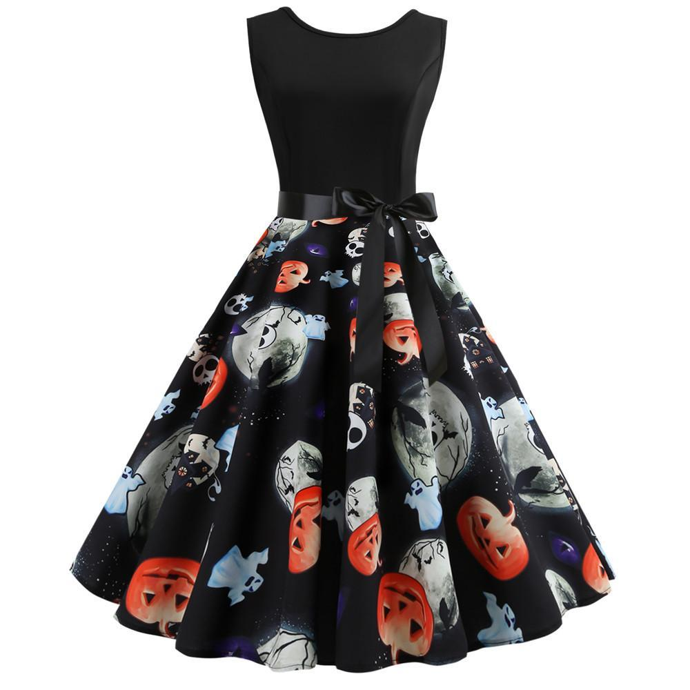 Halloween Pumpkin Print Sleeveless Vintage Dress