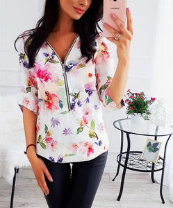 Fashion Casual V Neck Long Sleeve Floral Printed Shirts
