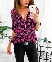 Load image into Gallery viewer, Fashion Casual V Neck Long Sleeve Floral Printed Shirts