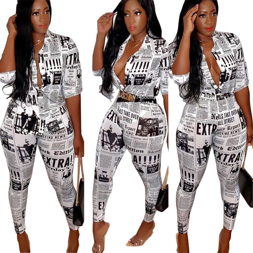 Newspaper Printed Women Casual Button Short Sleeve Shirt Top + Pants Two Piece Set Outfit