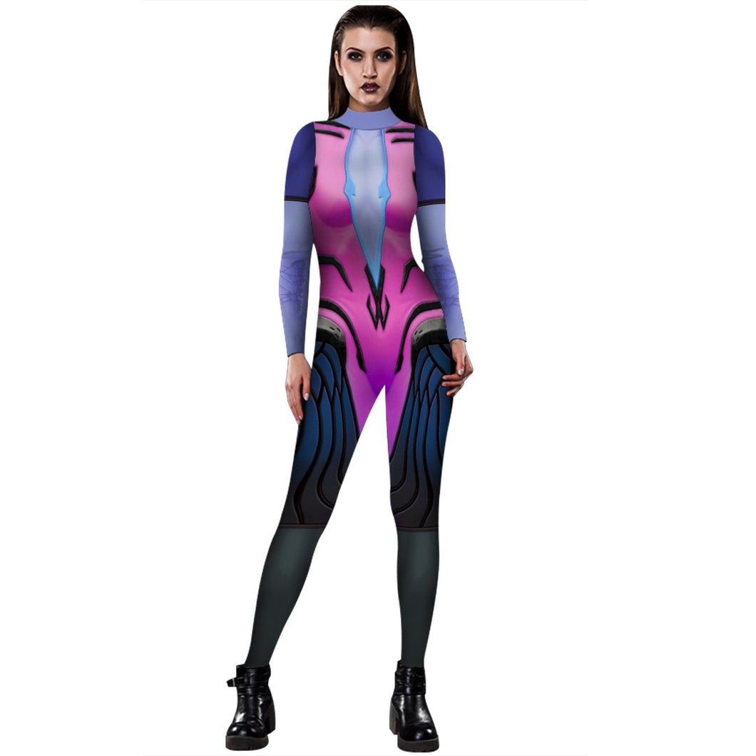3D Funny Overwatch Tracer Print Tight Stretch Women Long Sleeve Jumpsuit Pants Pajamas Onesies