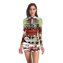 Load image into Gallery viewer, Halloween D Digital Print Long Sleeved Dress