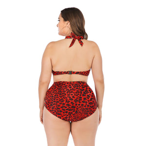 Women Plus Size Leopard Printed Sexy High Waist Hollow Out Halter Two Piece Bikini Set Swimwear Bathing Suit