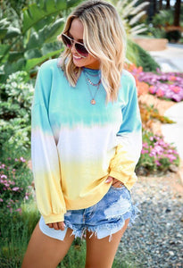 Rainbow Gradient Printed Long Sleeve Women's Sweatshirt