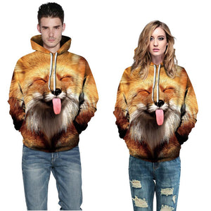Big and Tall 3D Funny Cute Dog Loose Hoodie Sweatshirt Jacket For Men Women