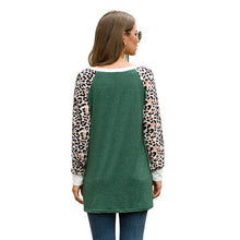 Load image into Gallery viewer, Women Leopard Print Knot Round Neck Casual Long Sleeve T-shirt
