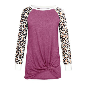 Women Leopard Print Knot Round Neck Casual Long Sleeve T-shirt