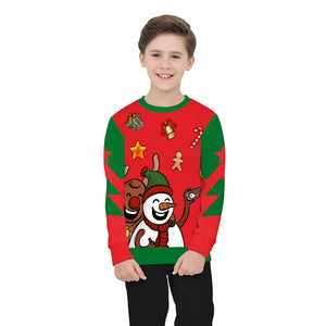 Christmas Print Round Collar Kids Sweatshirt
