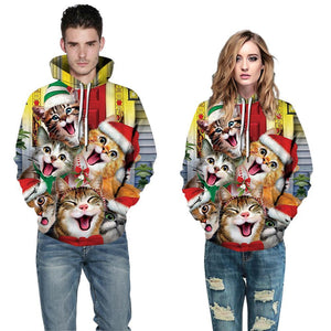 S-5XL Christmas Cat Print Unisex Long Sleeve Hoodie