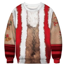 Load image into Gallery viewer, Chest Hair Xmas Print Ugly Christmas Long Sleeve Sweatshirt