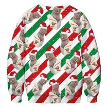 Load image into Gallery viewer, Christmas Cat Print Ugly Christmas Long Sleeve Sweatshirt