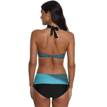 Load image into Gallery viewer, Women Plus Size Polka Dot Bikini Set Halter Neck Swimwear Two Piece Swimsuit Push Up Backless Bathing Suit