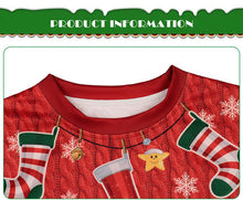 Load image into Gallery viewer, Christmas Print Round Collar Kids Sweatshirt