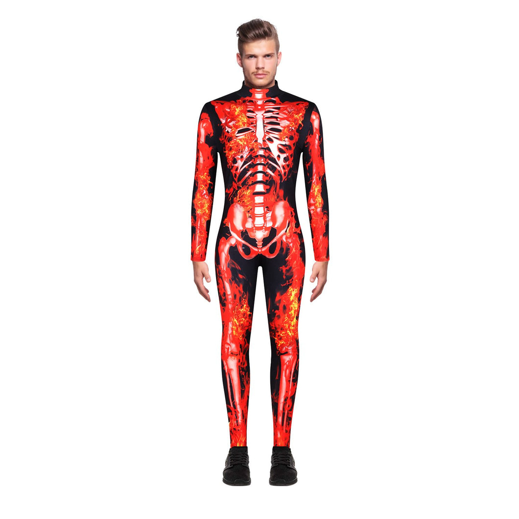 3D Skeleton Muscle Print Funny Bodycon One Piece Men Zip Long Sleeve and Pant Jumpsuit Pajamas Onesies