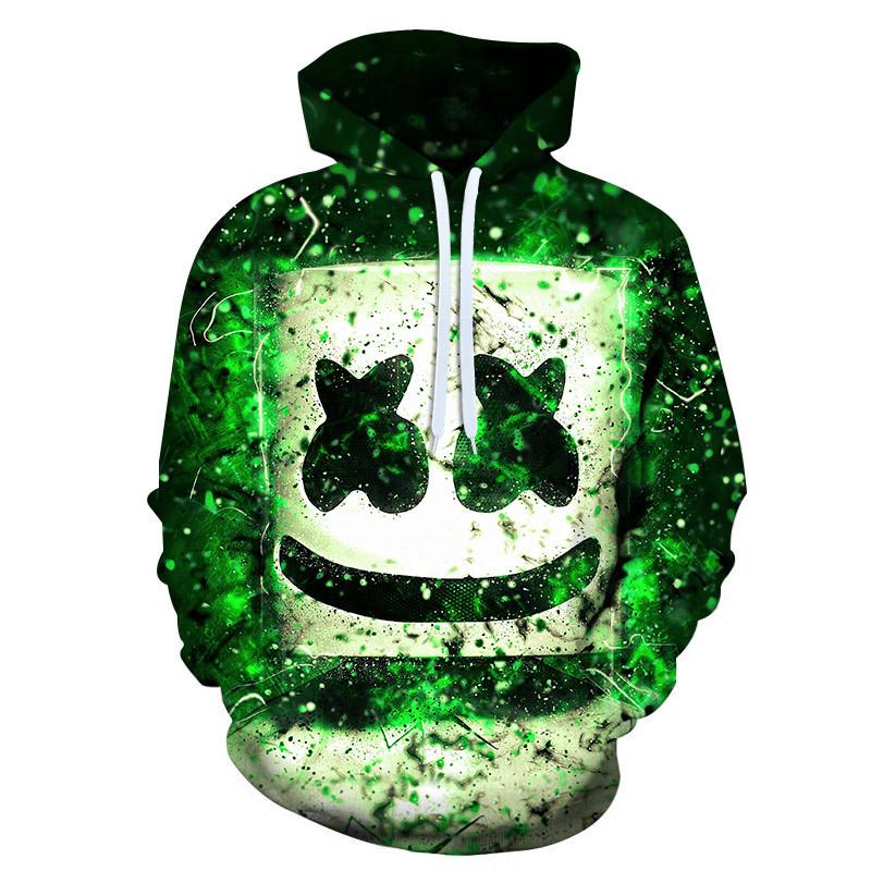 3D Marshmello DJ Printed Pullover Hoodie Sweatshirts Jacket Outerwear For Men Women
