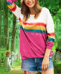 Gradient Printed Long Sleeve Women's T-shirt Top