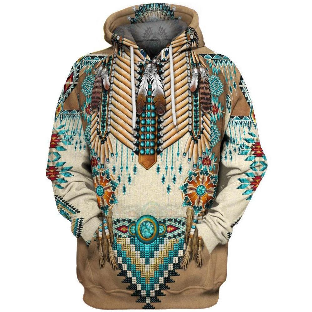 Big and Tall 3D Native American Indian Printed Pullover Hoodies Jacket Sweatshirt Coat