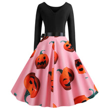 Load image into Gallery viewer, Pumpkin Print Round Neck Long sleeve Vintage Swing dress