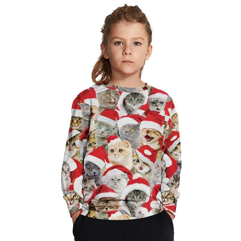 Christmas Boys and Girls Print Round Collar Kids Sweatshirt