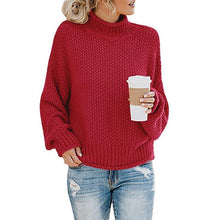 Load image into Gallery viewer, Women Thick Line High Neck Pullover Knitted Sweater Knitwear