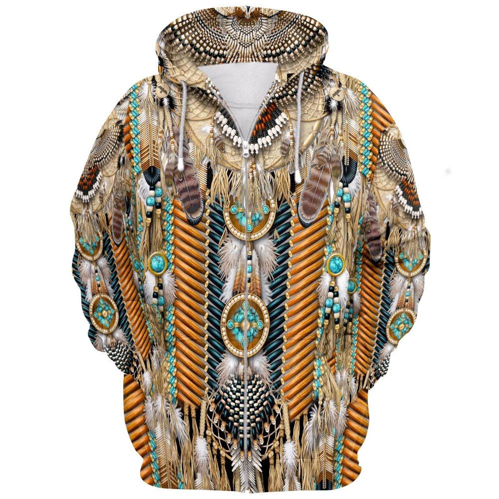 Big and Tall 3D Native American Indian Printed Zip Hoodies Jacket Sweatshirt Coat