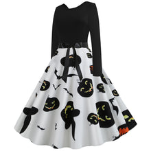 Load image into Gallery viewer, Pumpkin Bat Haunt Print Long sleeve Halloween Vintage Swing Dress