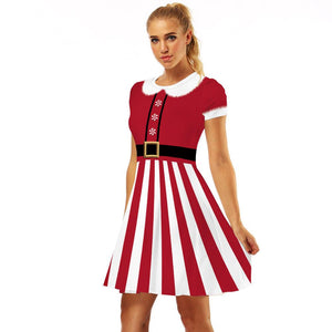 Christmas Dress Print Casual Flared Midi Christmas Dress