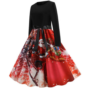 Christmas Santa Claus Print Long Sleeve Flare Vintage Dress