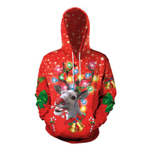 Load image into Gallery viewer, Xmas Elk Print Christmas Long Sleeve Hoodie