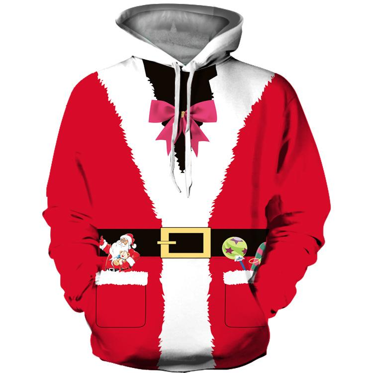 Funny Pocket Belt Design Print Pullover Christmas Hoodie Sweatshirt Jacket