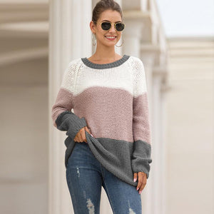 Fashion Colorblock Crew Neck Pullover Knitted Sweater Knitwear