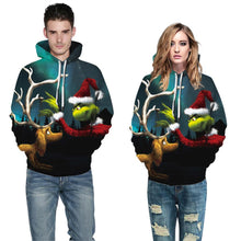 Load image into Gallery viewer, S-5XL Christmas Grinch Print Unisex Long Sleeve Hoodie
