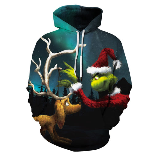 S-5XL Christmas Grinch Print Unisex Long Sleeve Hoodie