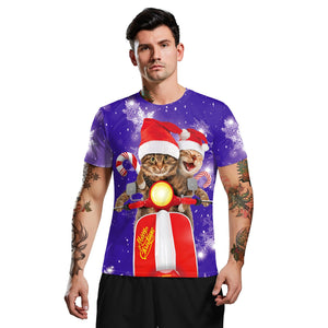 Christmas Short Sleeve Merry Christmas Print Men's T-shirt