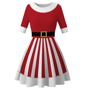 Christmas Digital Print High Waist Round Neck Christmas Dress