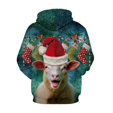 Load image into Gallery viewer, S-5XL Christmas Alpaca Print Unisex Long Sleeve Hoodie