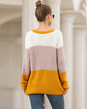 Load image into Gallery viewer, Fashion Colorblock Crew Neck Pullover Knitted Sweater Knitwear