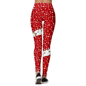 Christmas Print Stretch Tights Casual Sweatpants