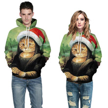 Load image into Gallery viewer, S-5XL Christmas Cat Print Unisex Long Sleeve Hoodie