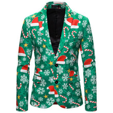 Load image into Gallery viewer, Christmas Suit Christmas Hat Print Jacket Blazer Christmas Costume