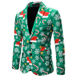 Christmas Suit Christmas Hat Print Jacket Blazer Christmas Costume