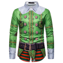 Load image into Gallery viewer, Faux Real Men's 3D Photo-Realistic Ugly Christmas Long Sleeve Shirt Christmas Costume