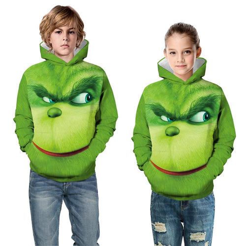 The Grinch Print Kid Christmas Children Hooded Sweater Long Sleeve Hoodies Sweatshirt
