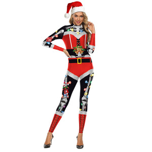 Women Funny Christmas Printed Bodycon Stretch Jumpsuits Christmas Costume