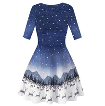 Load image into Gallery viewer, Christmas Dresses Print Casual Flared Midi Dresses