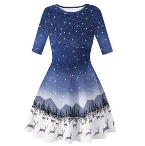 Christmas Dresses Print Casual Flared Midi Dresses
