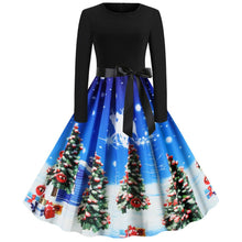 Load image into Gallery viewer, Christmas Tree  Print Long Sleeve Flare Vintage Dress