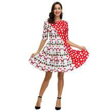 Load image into Gallery viewer, Christmas Dress Print Casual Flared Midi Christmas Dress