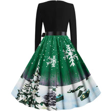Load image into Gallery viewer, Christmas Snowflake Print Long Sleeve Flare Vintage Dress